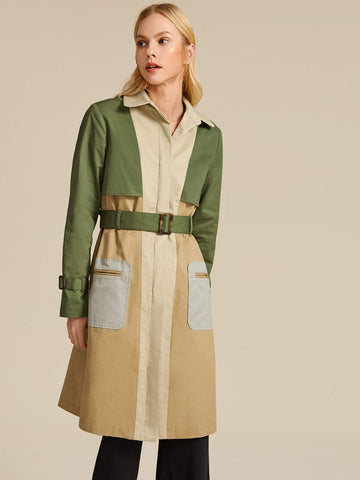 Cut-and-sew Patch Pocket Belted Trench Coat - FLJ CORPORATIONS