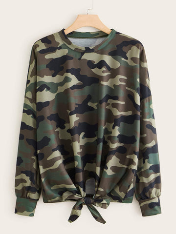 Plus Camo Print Knot Hem Sweatshirt - FLJ CORPORATIONS