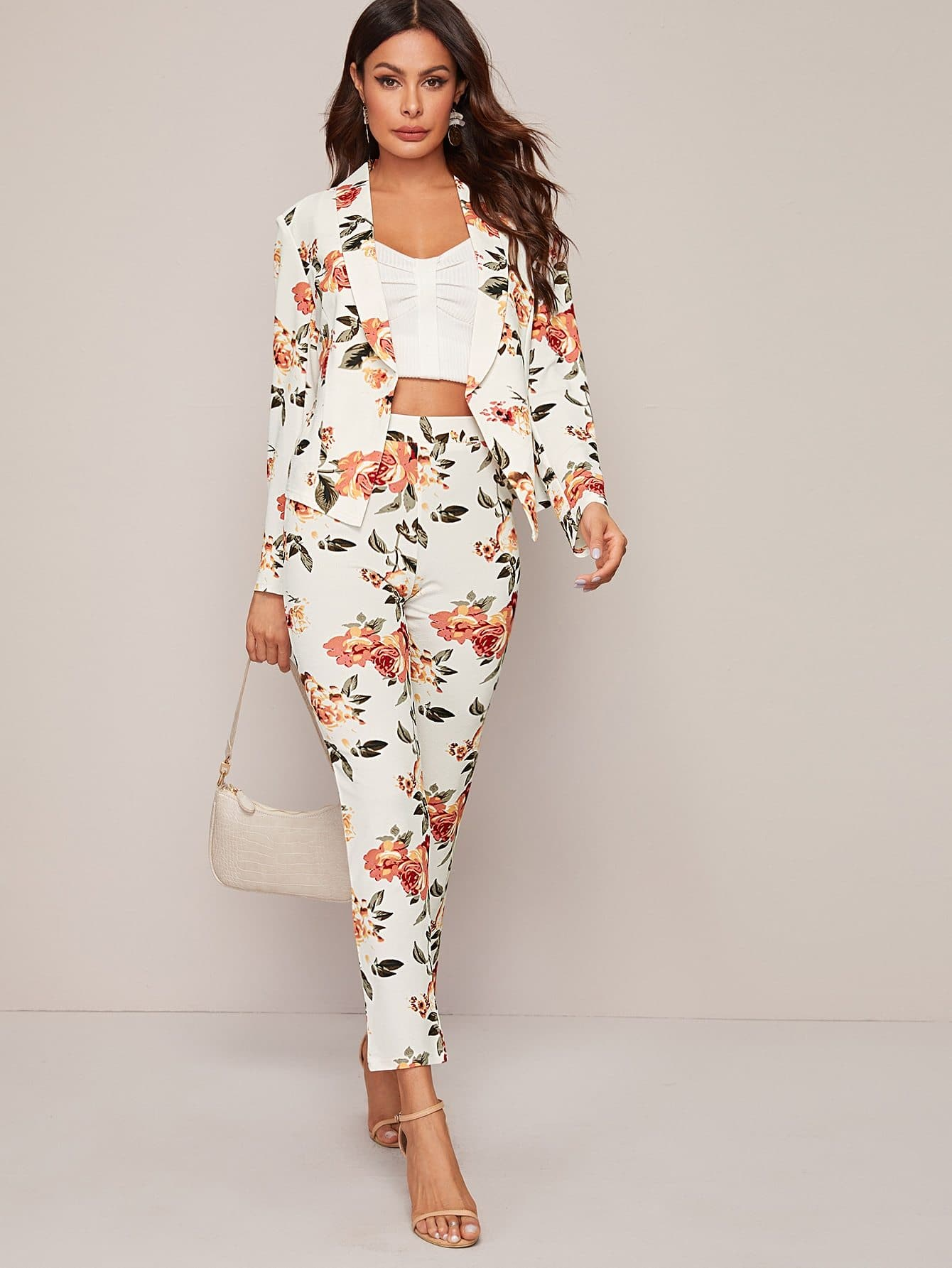 Shawl Collar Floral Blazer and Pants Set - FLJ CORPORATIONS