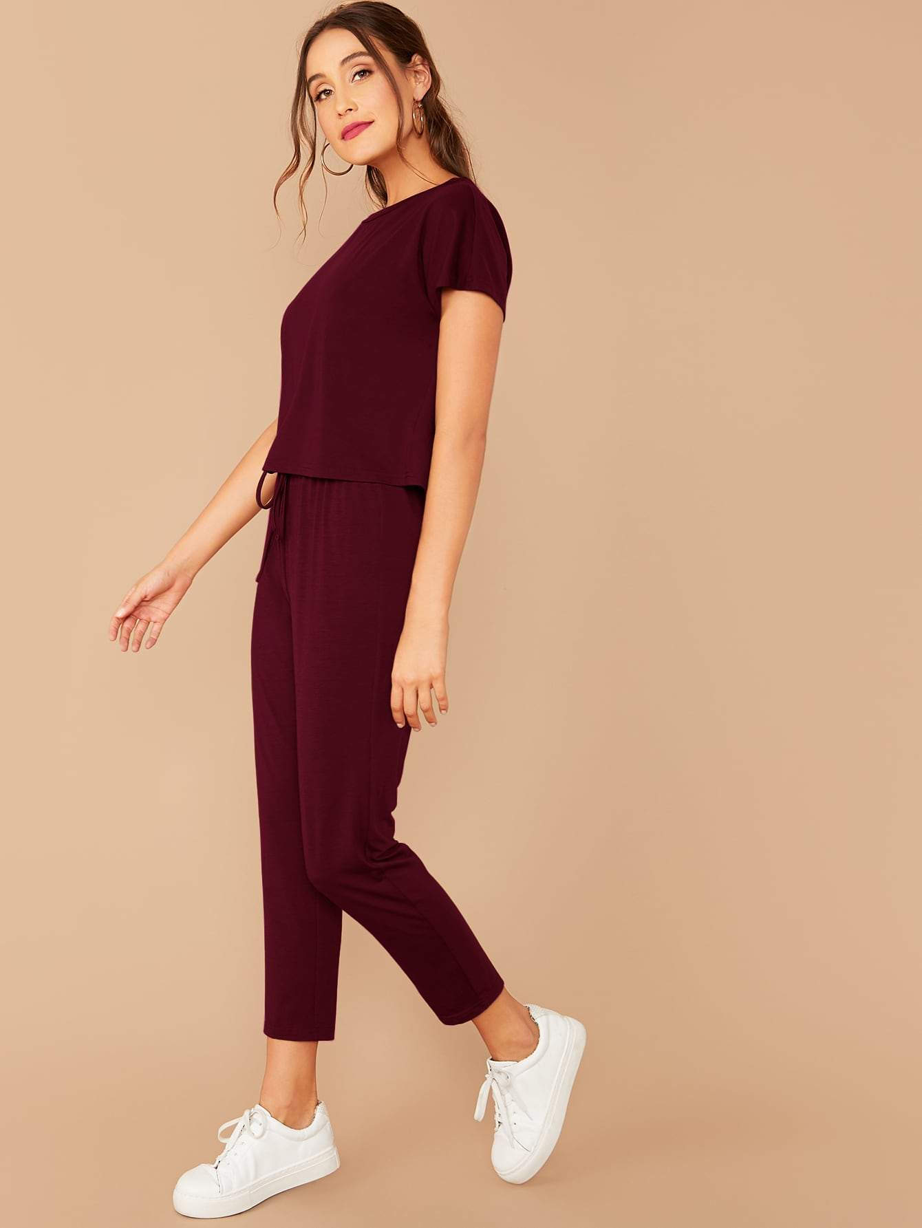 Solid Boxy Tee & Drawstring Ankle-Cut Pants Set - FLJ CORPORATIONS