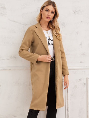 Solid Notched Collar Coat - FLJ CORPORATIONS