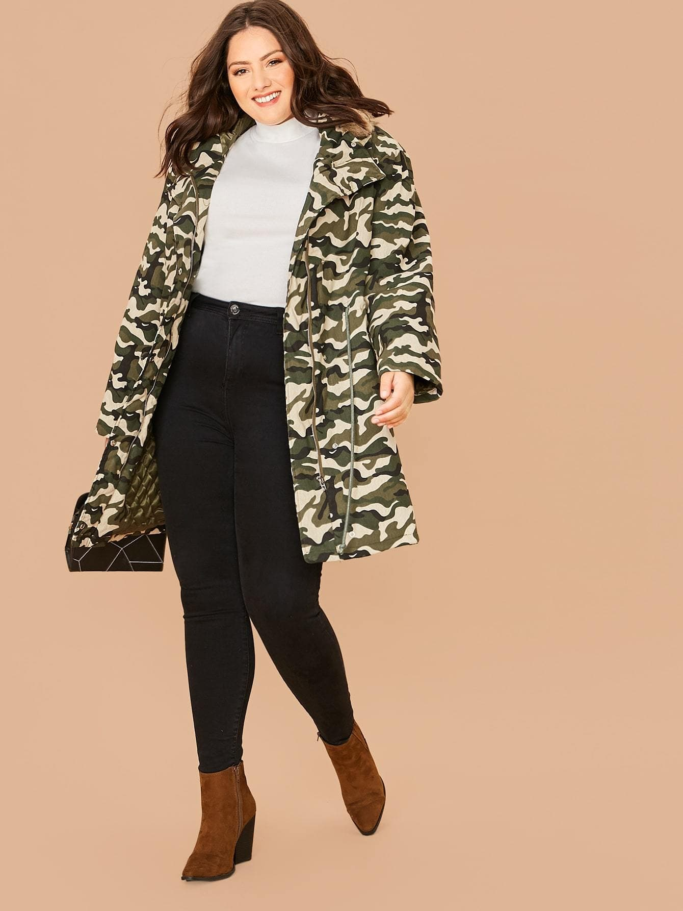 Plus Contrast Faux Fur Detail Camo Print Parka Coat - FLJ CORPORATIONS
