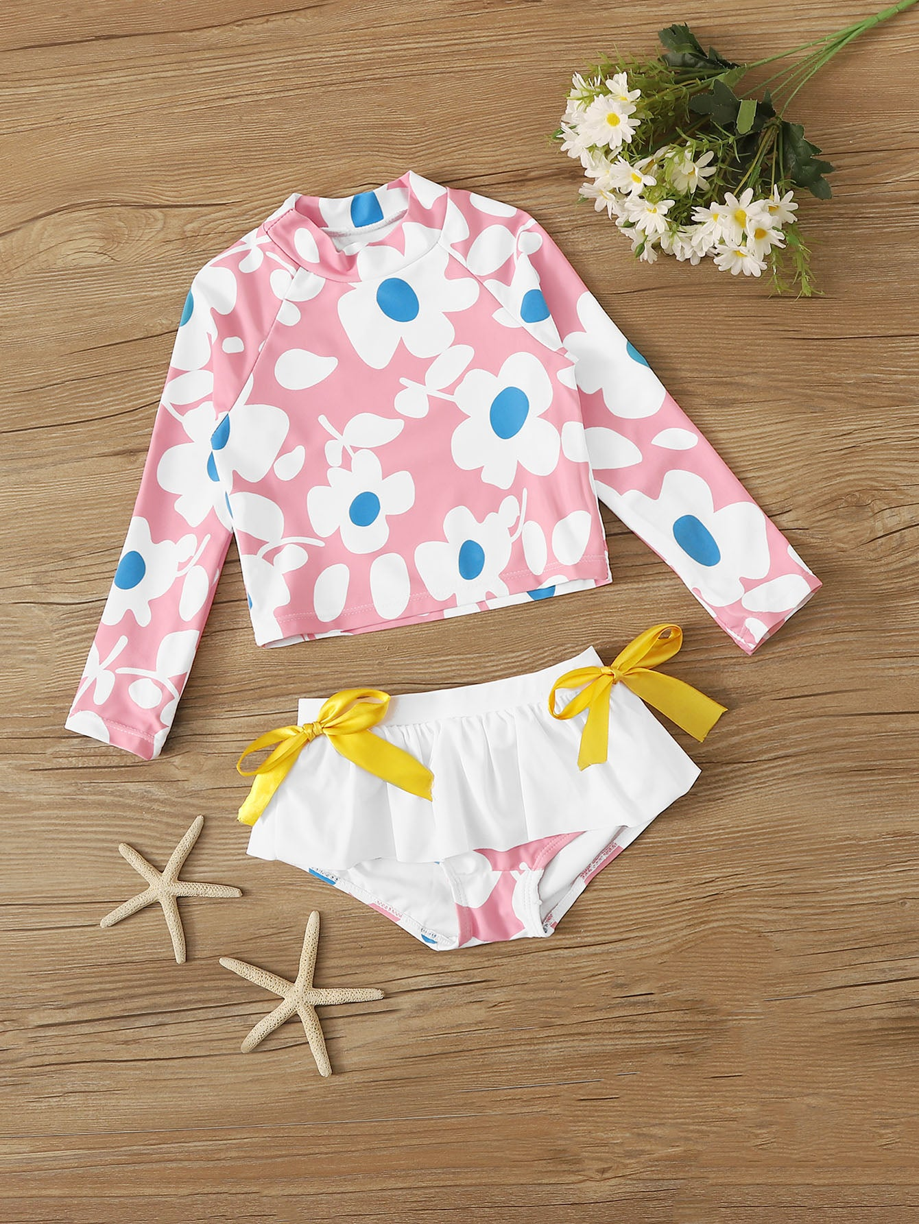 Toddler Girls Floral Print Long Sleeve Tankini - FLJ CORPORATIONS