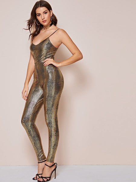 Crocodile Pattern Fitted Slip Jumpsuit - FLJ CORPORATIONS