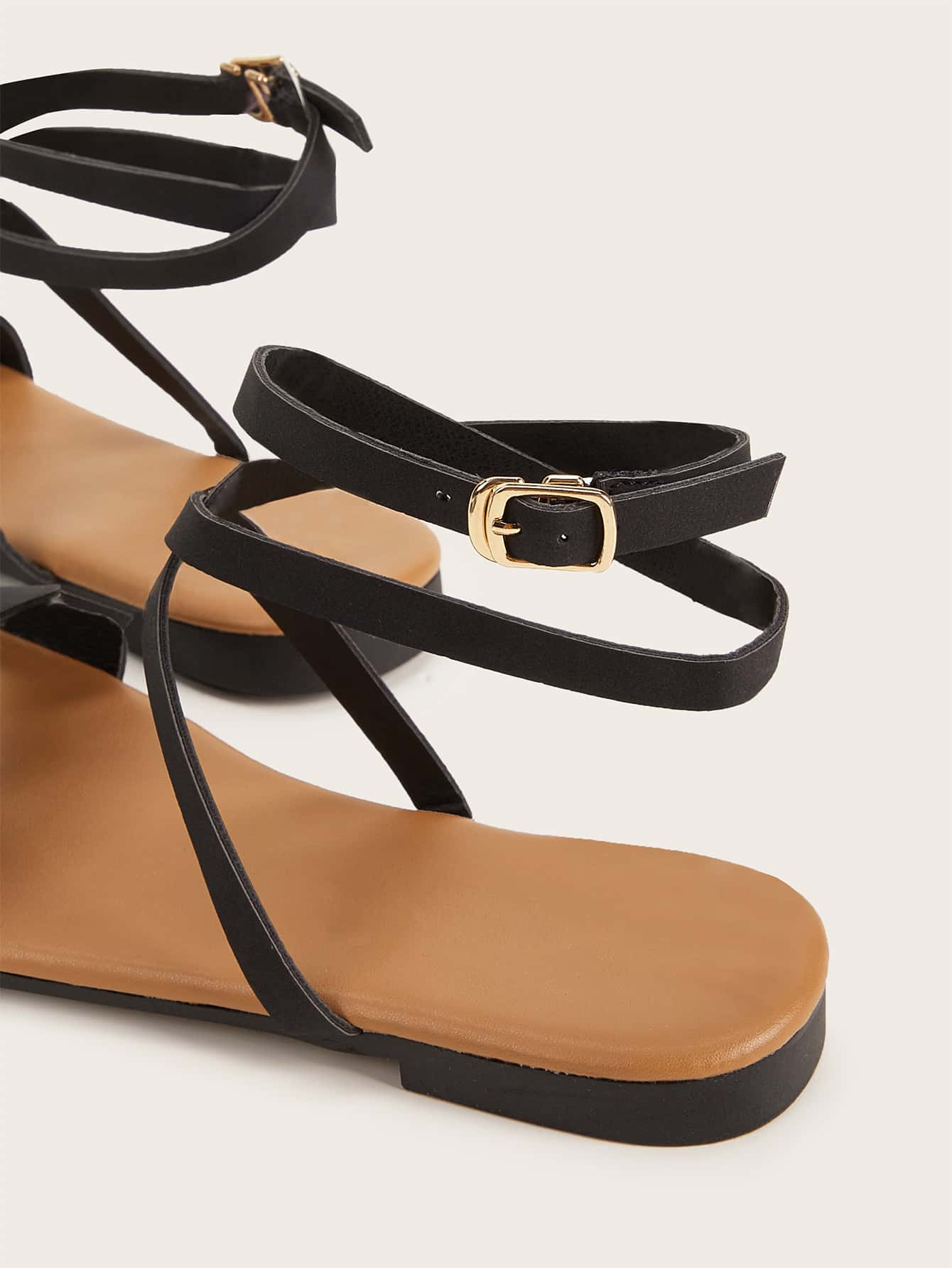 Scalloped Detail Buckle Strap Sandals - FLJ CORPORATIONS