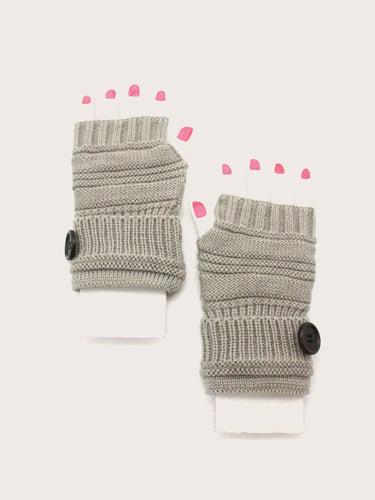 1pair Button Decor Knitted Gloves - FLJ CORPORATIONS