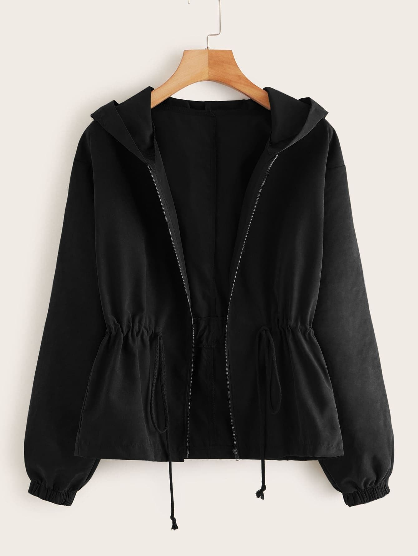 Plus Zip Up Drawstring Hooded Coat - FLJ CORPORATIONS
