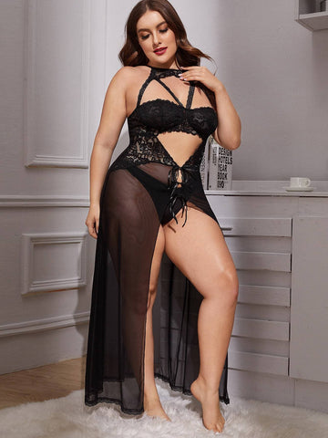 Plus Contrast Lace Mesh Dress With Thong