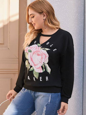 Plus Choker Neck Floral & Letter Graphic Sweatshirt - FLJ CORPORATIONS