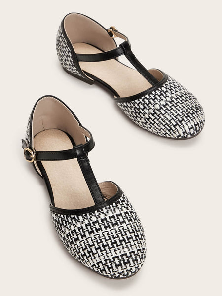 Girls Buckle Strap Braided Flats - FLJ CORPORATIONS