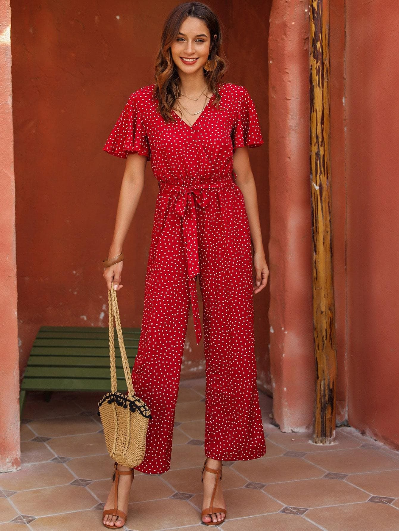 Polka Dot Butterfly Sleeve Belted Jumpsuit - FLJ CORPORATIONS