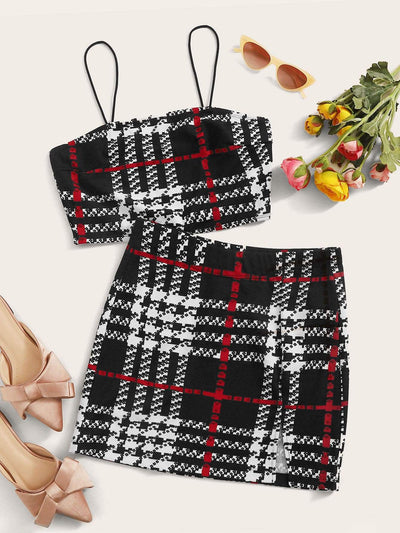 Plaid Crop Cami Top & Split Hem Skirt Set - FLJ CORPORATIONS