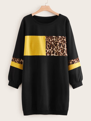 Plus Leopard Print Colorblock Sweatshirt Dress - FLJ CORPORATIONS