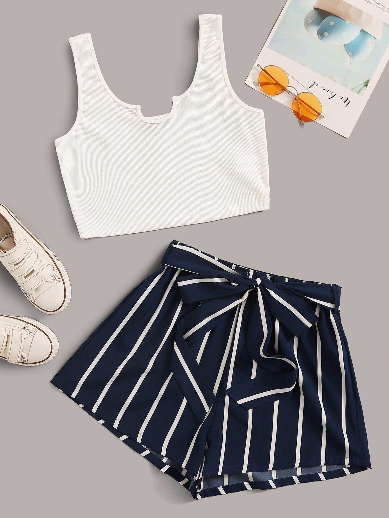 Rib-knit Crop Tank Top & Striped Belted Shorts Set - FLJ CORPORATIONS