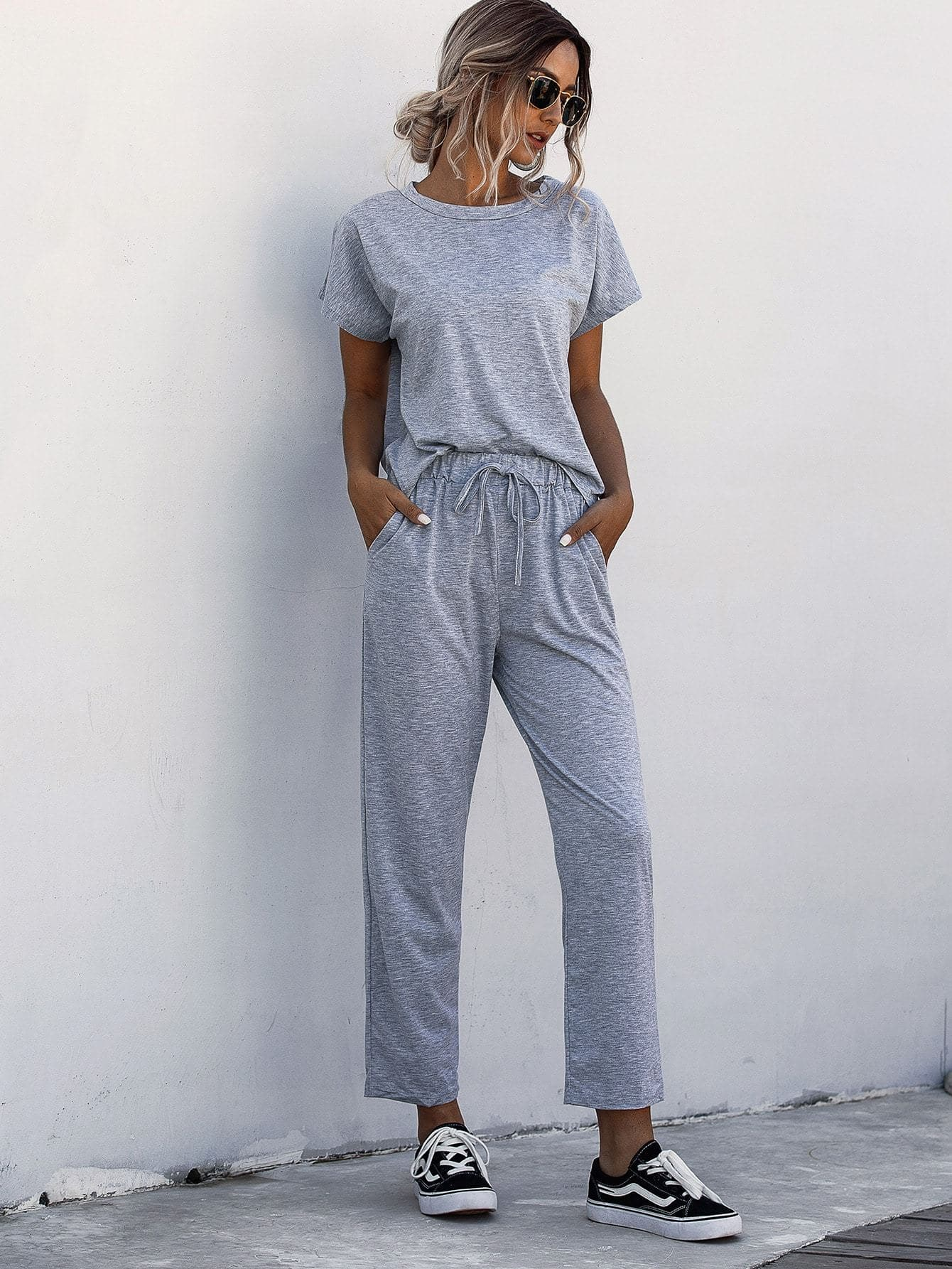 Space Dye Tee With Drawstring Waist Pants - FLJ CORPORATIONS