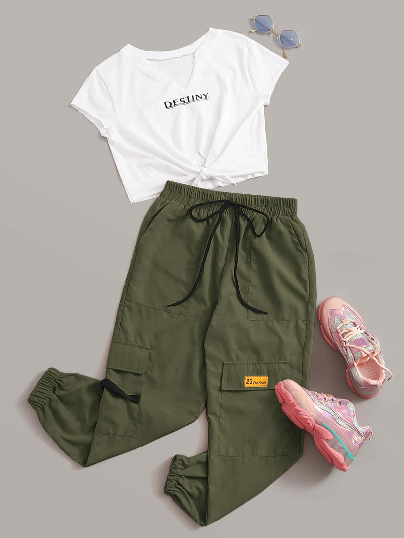 Destiny Graphic Tee & Cargo Pants Set - FLJ CORPORATIONS