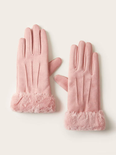 1pair Fluffy Trim Suede Gloves - FLJ CORPORATIONS