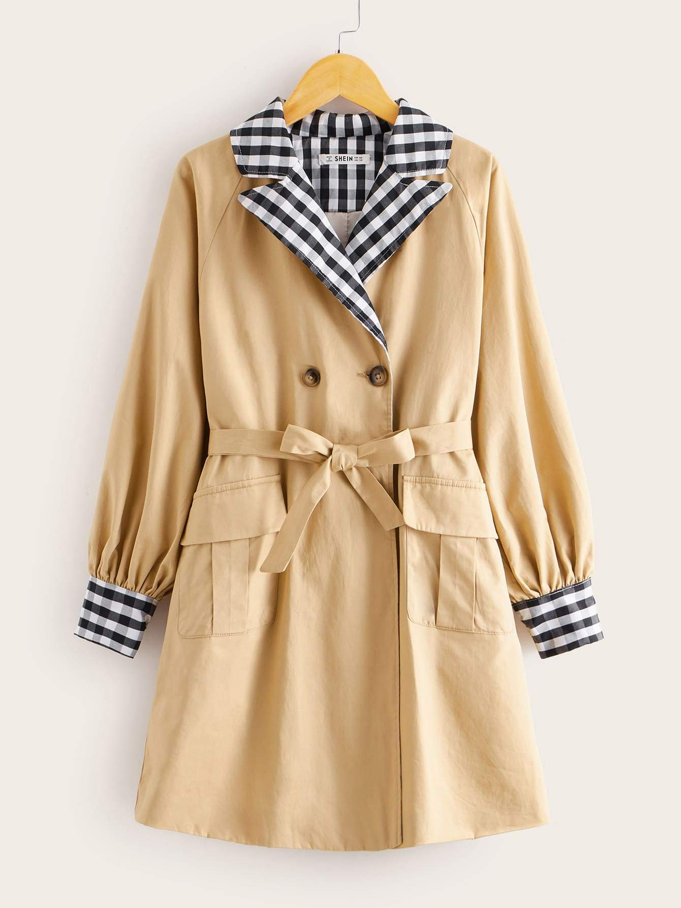 Girls Contrast Gingham Collar Self Belted Trench Coat - FLJ CORPORATIONS