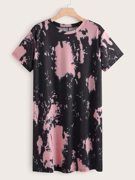 Plus Tie Dye Tee Dress - FLJ CORPORATIONS