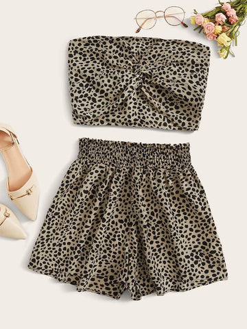 Cheetah Print Twisted Tube Top & Shorts Set - FLJ CORPORATIONS
