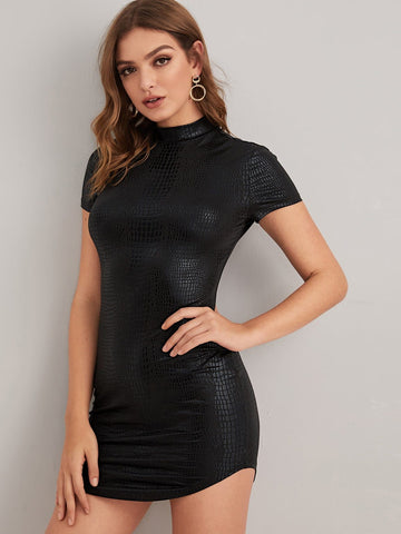 Mock-neck Crocodile Embossed Metallic Dress - FLJ CORPORATIONS