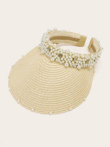 Rhinestone & Pearl Decor Straw Visor - FLJ CORPORATIONS