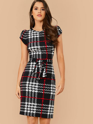 Cap Sleeve Plaid Print Belted Dress - FLJ CORPORATIONS