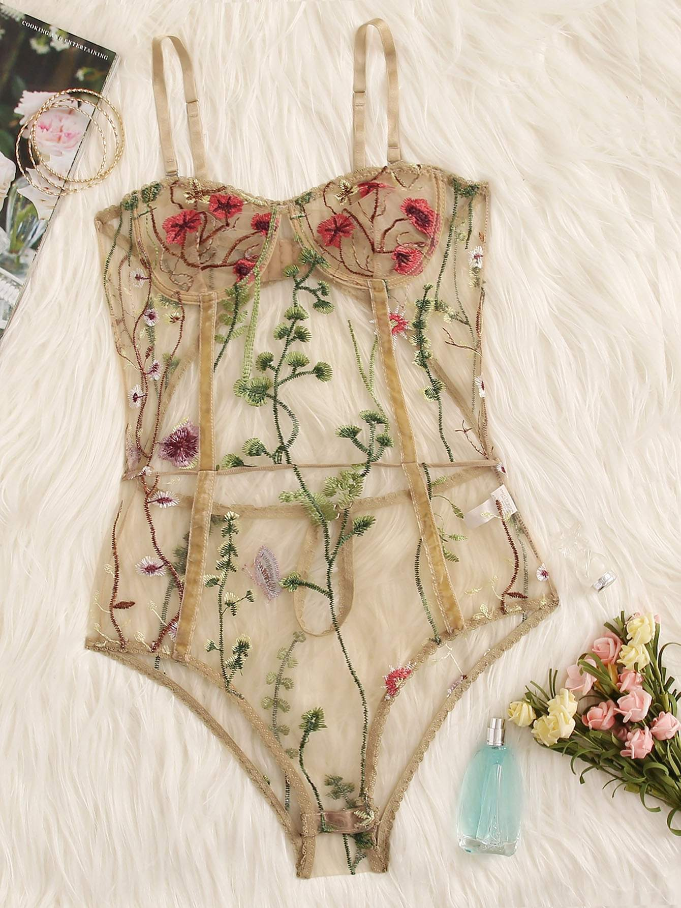 Floral Embroidered Sheer Teddy Bodysuit - FLJ CORPORATIONS