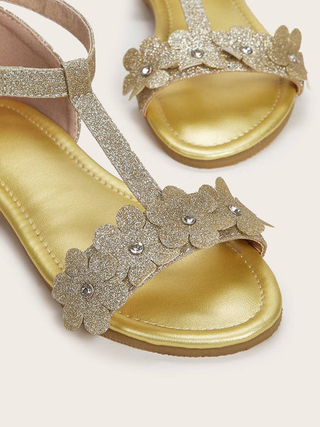 Girls Glitter Floral Applique Decor Flat Sandals - FLJ CORPORATIONS