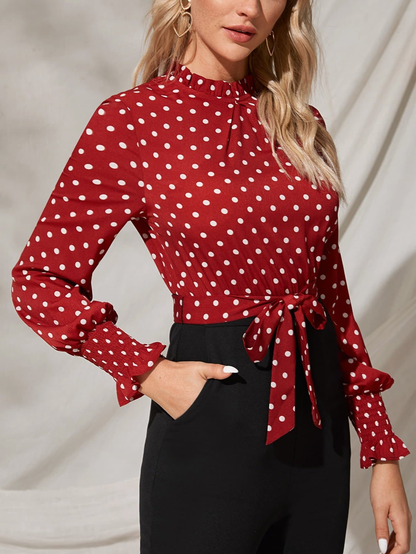 Shirred Cuff Polka Dot Belted Combo Jumpsuit - FLJ CORPORATIONS