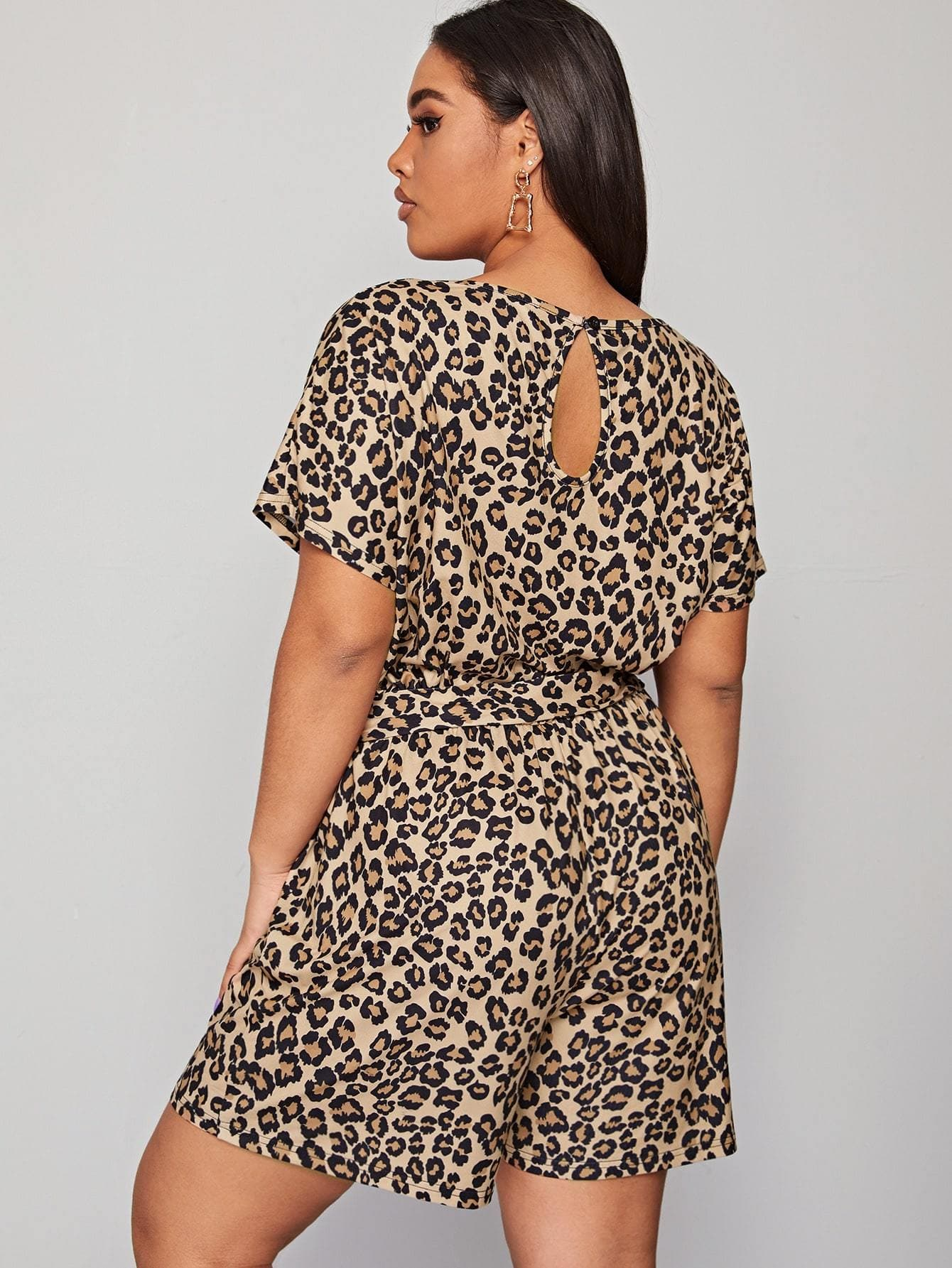 Plus Leopard Print Self Tie Romper - FLJ CORPORATIONS