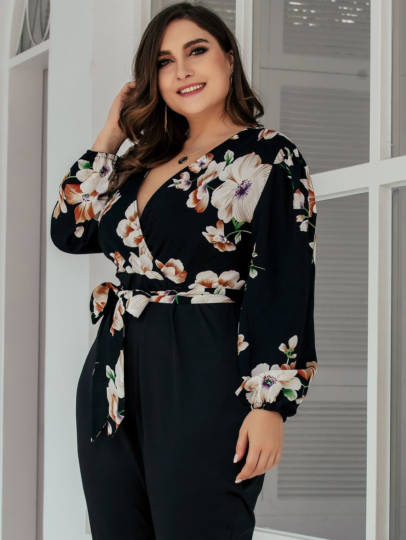 Plus Contrast Floral Print Belted Jumpsuit - FLJ CORPORATIONS