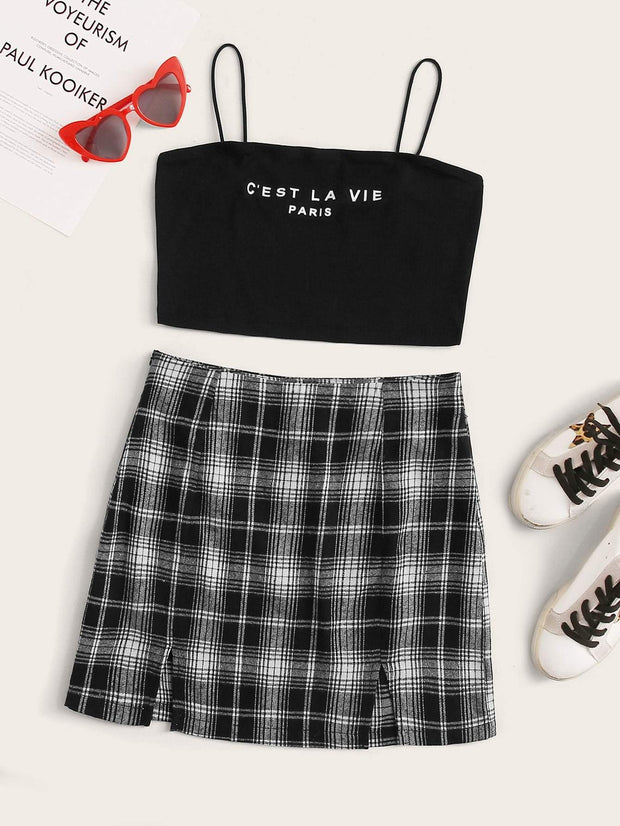 Slogan Graphic Crop Cami Top & M-slit Plaid Skirt Set - FLJ CORPORATIONS
