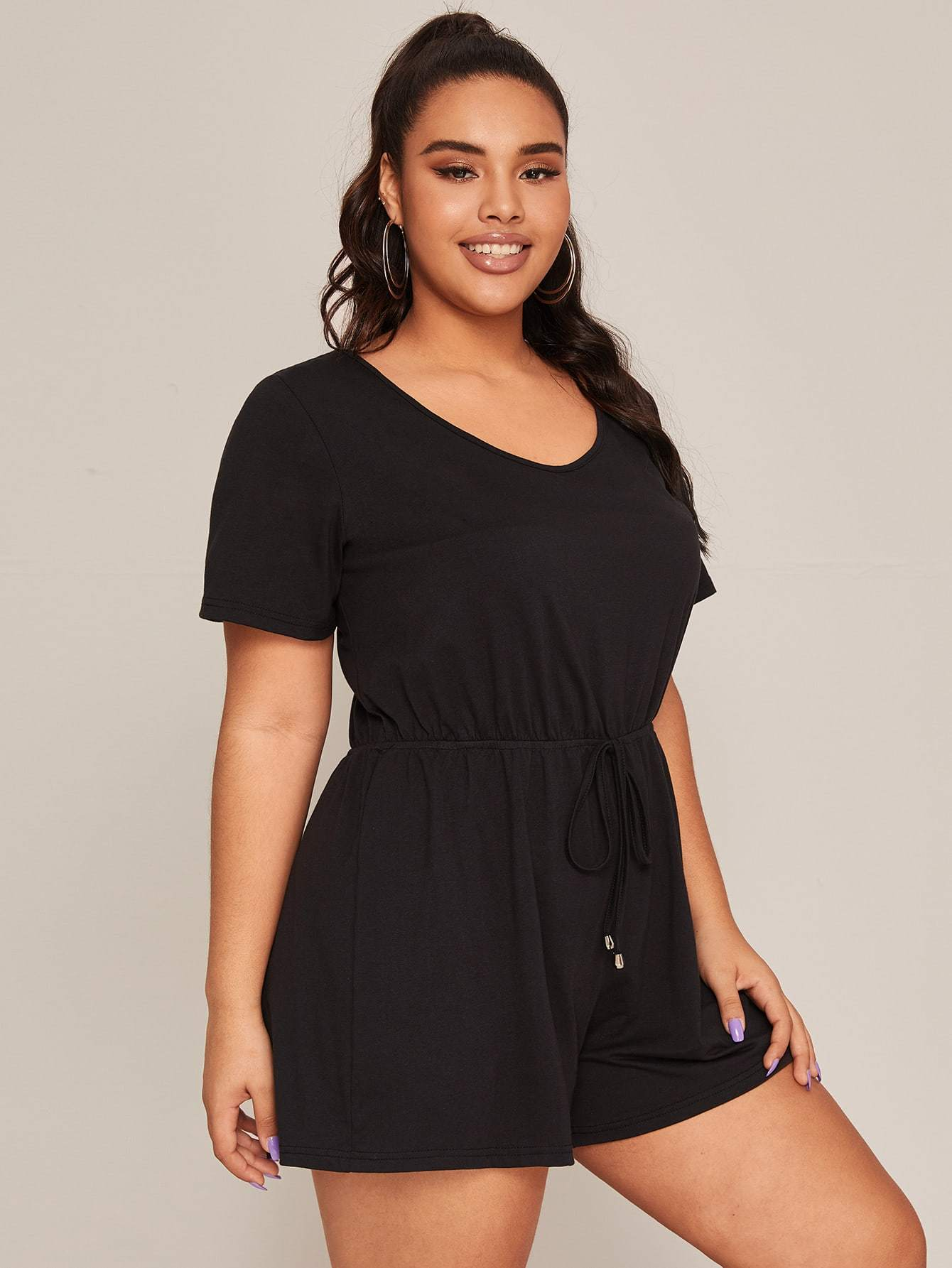 Plus Tie Waist Tee Romper - FLJ CORPORATIONS