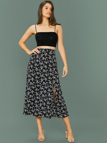 Solid Cami Crop Top & Split Hem Ditsy Floral Skirt Set - FLJ CORPORATIONS