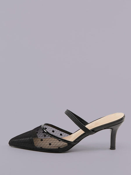 Polka Dot Mesh Pointy Toe Low Heel Mules - FLJ CORPORATIONS