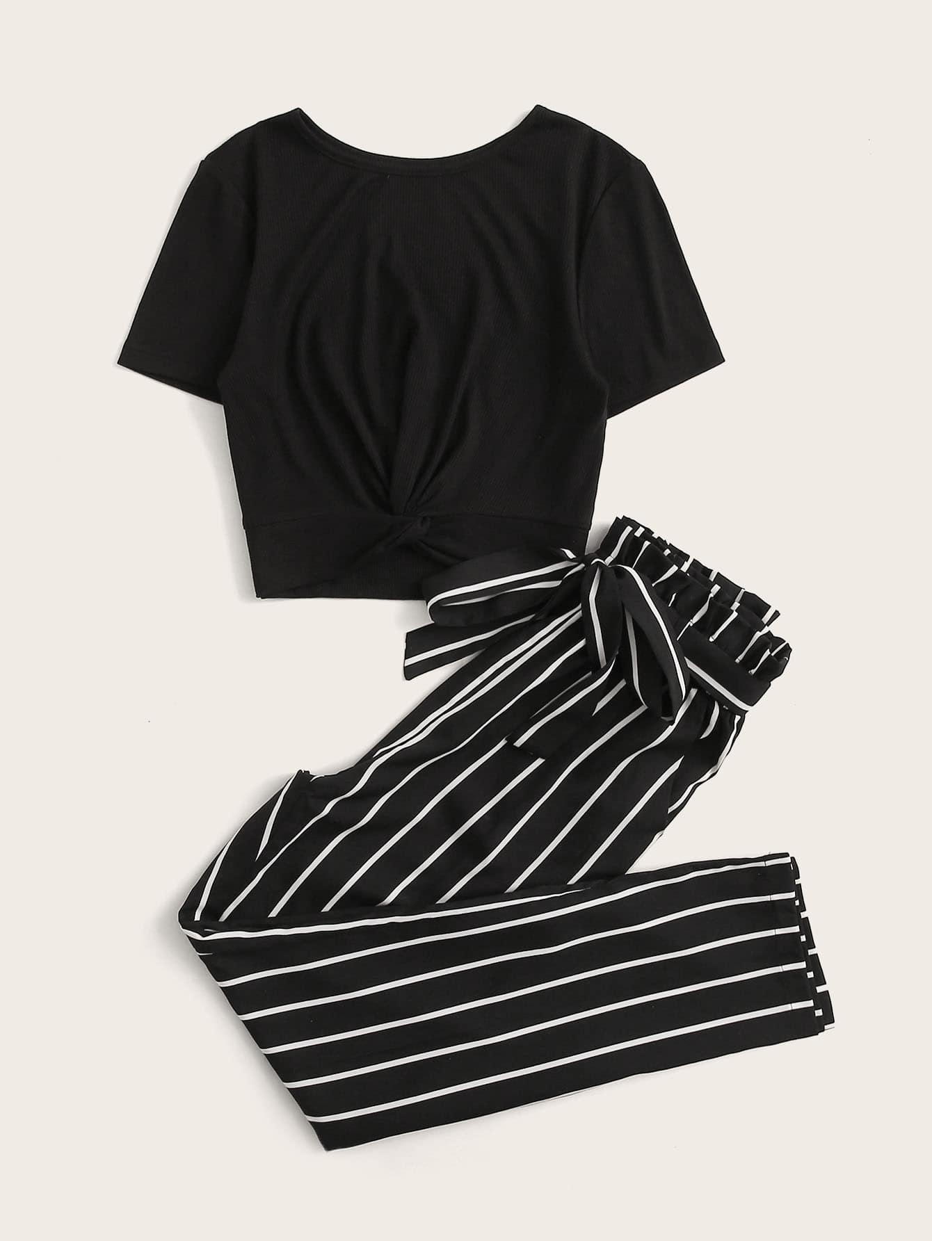 Twist Front Solid Top & Striped Belted Pants Set - FLJ CORPORATIONS