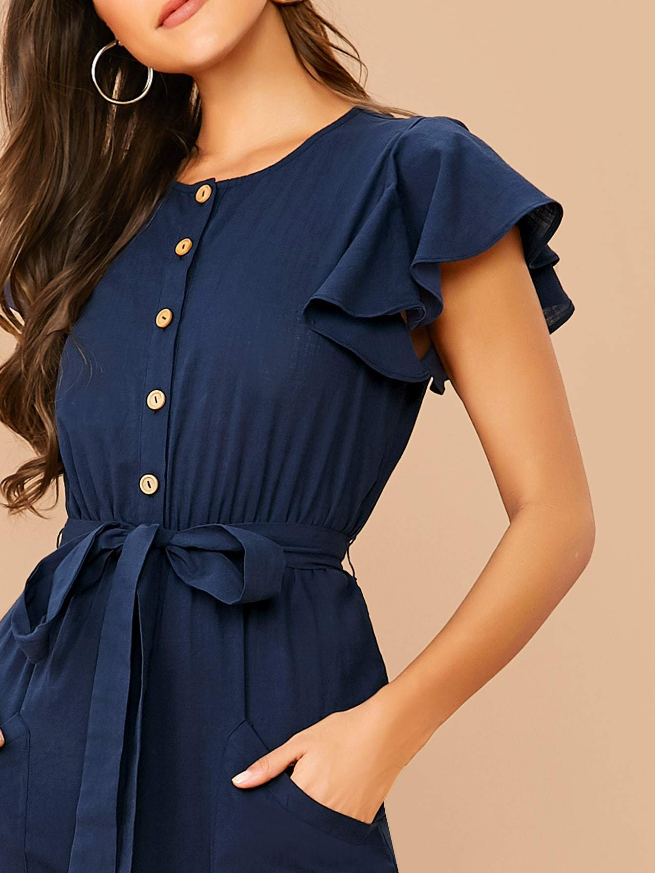 Butterfly Sleeve Belted Shirt Jumpsuit - FLJ CORPORATIONS