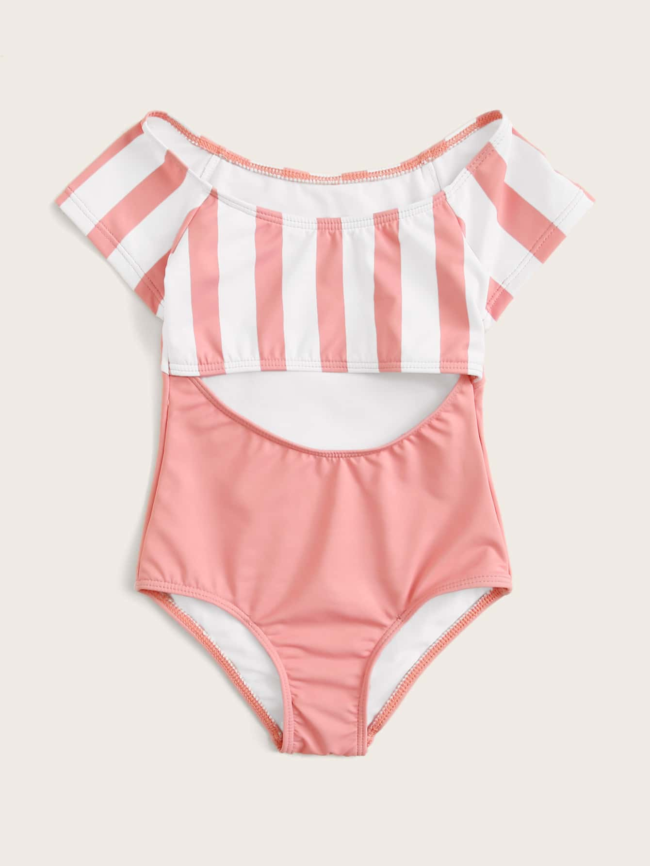 Toddler Girls Striped Short Sleeve One Piece Swimwear - FLJ CORPORATIONS