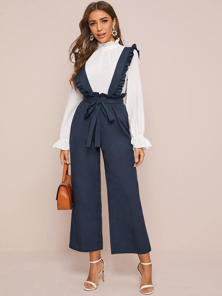 Ruffle Trim Paperbag Waist Belted Suspender Jumpsuit - FLJ CORPORATIONS
