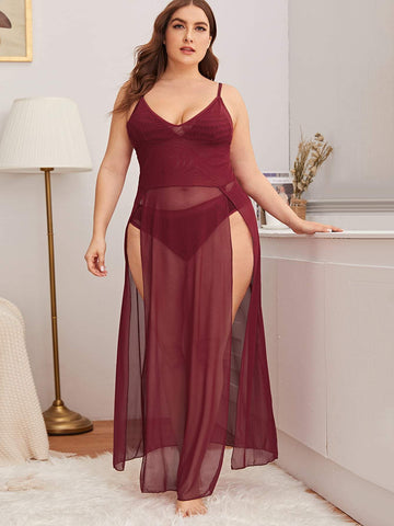 Plus Split Side Dress With Panty