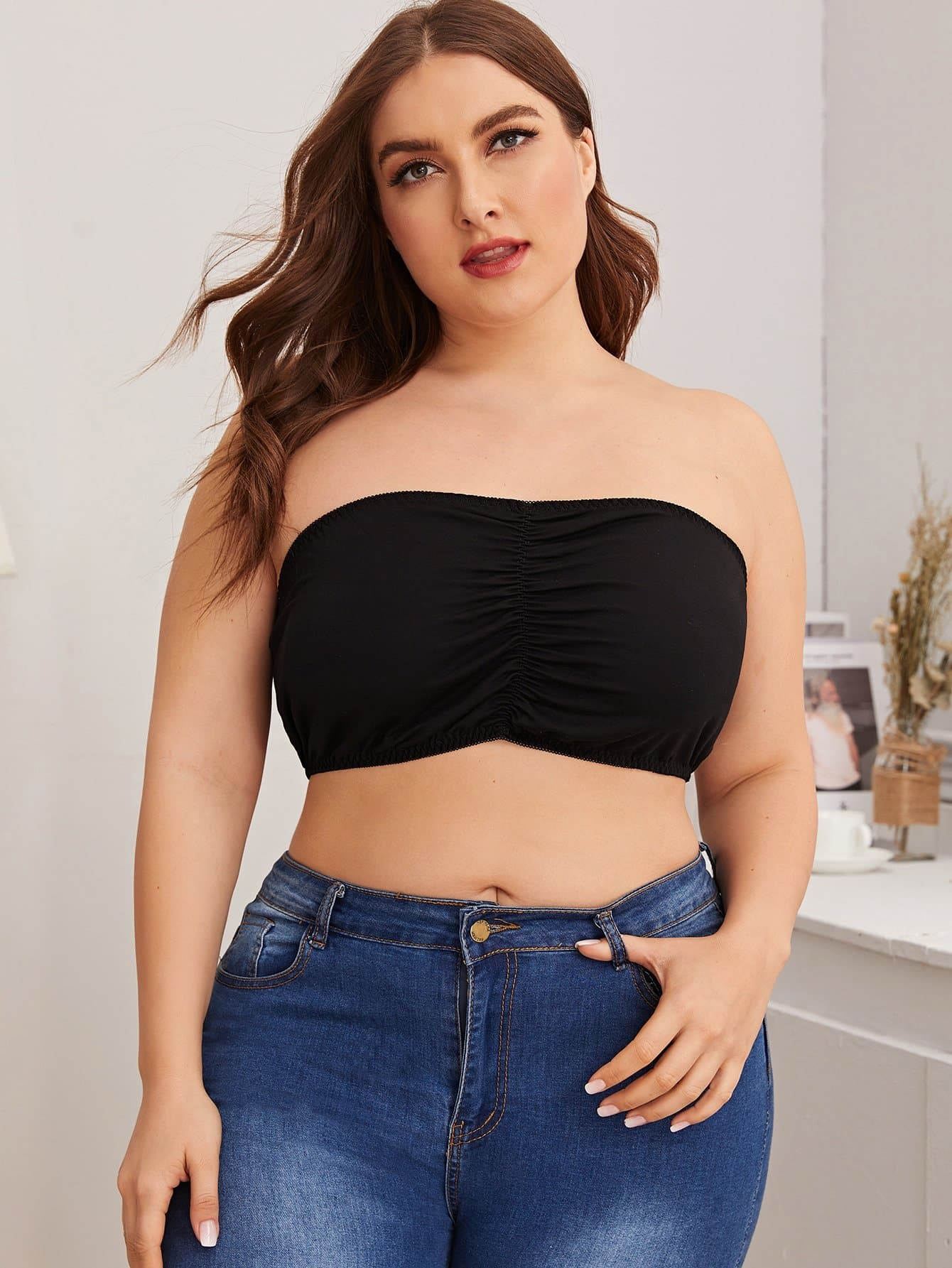 Plus Solid Bandeau Bralette - FLJ CORPORATIONS