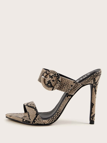 Snakeskin Print Buckle Decor Stiletto Heeled Mules - FLJ CORPORATIONS