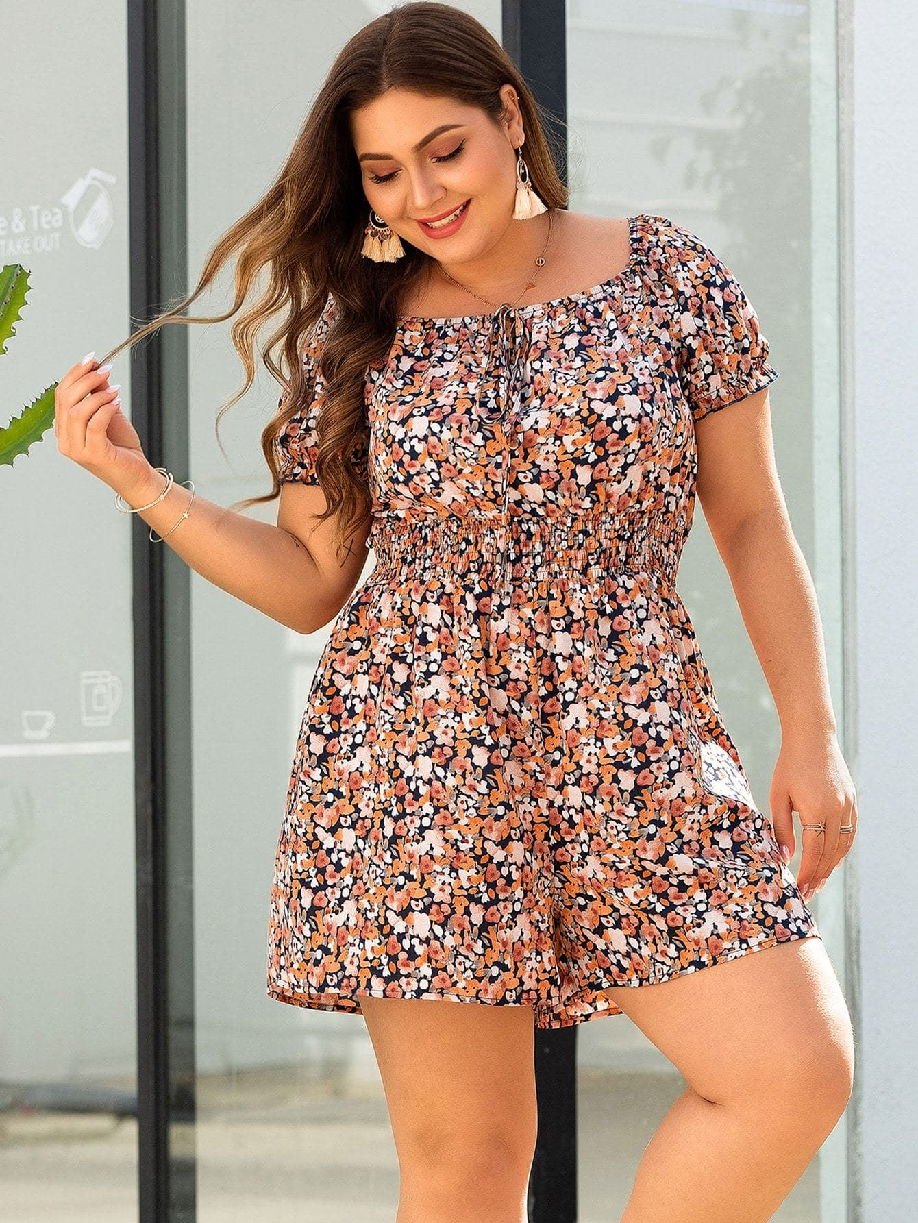 Plus Square Neck Shirred Floral Print Romper - FLJ CORPORATIONS
