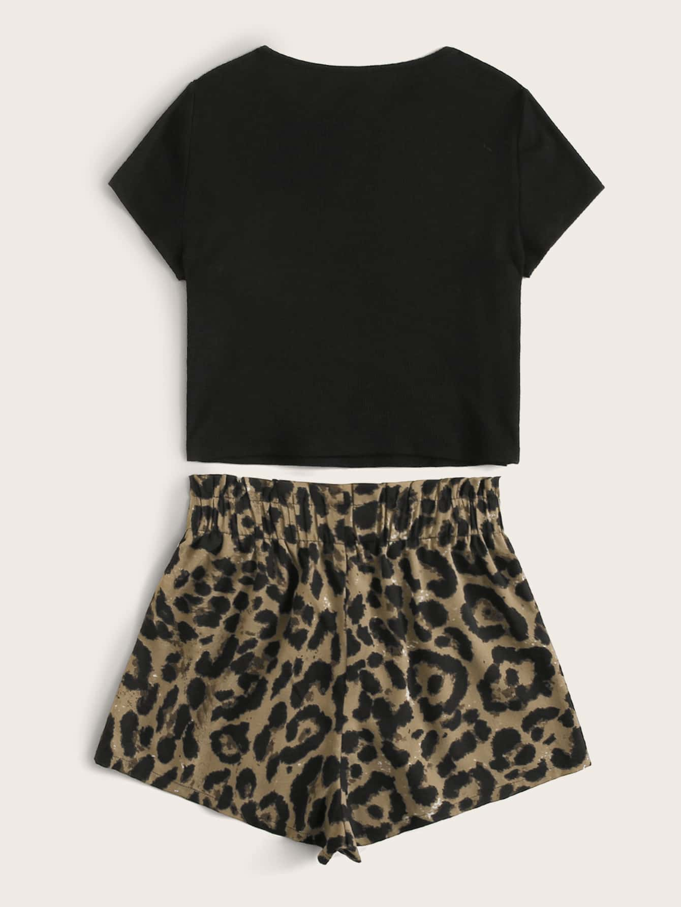 Solid Tee & Leopard Print Paperbag Shorts Set - FLJ CORPORATIONS