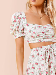 Ruched Front Shirred Back Ditsy Floral Print Top & Skirt Set - FLJ CORPORATIONS