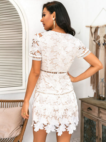Zip Back Guipure Lace Overlay Dress - FLJ CORPORATIONS