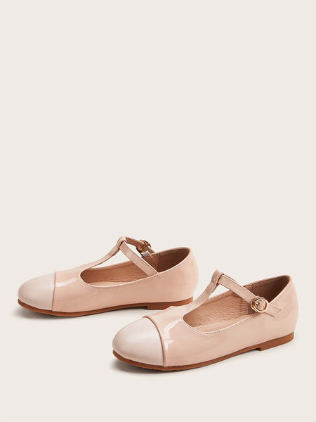 Girls Buckle Detail T-strap Flats - FLJ CORPORATIONS