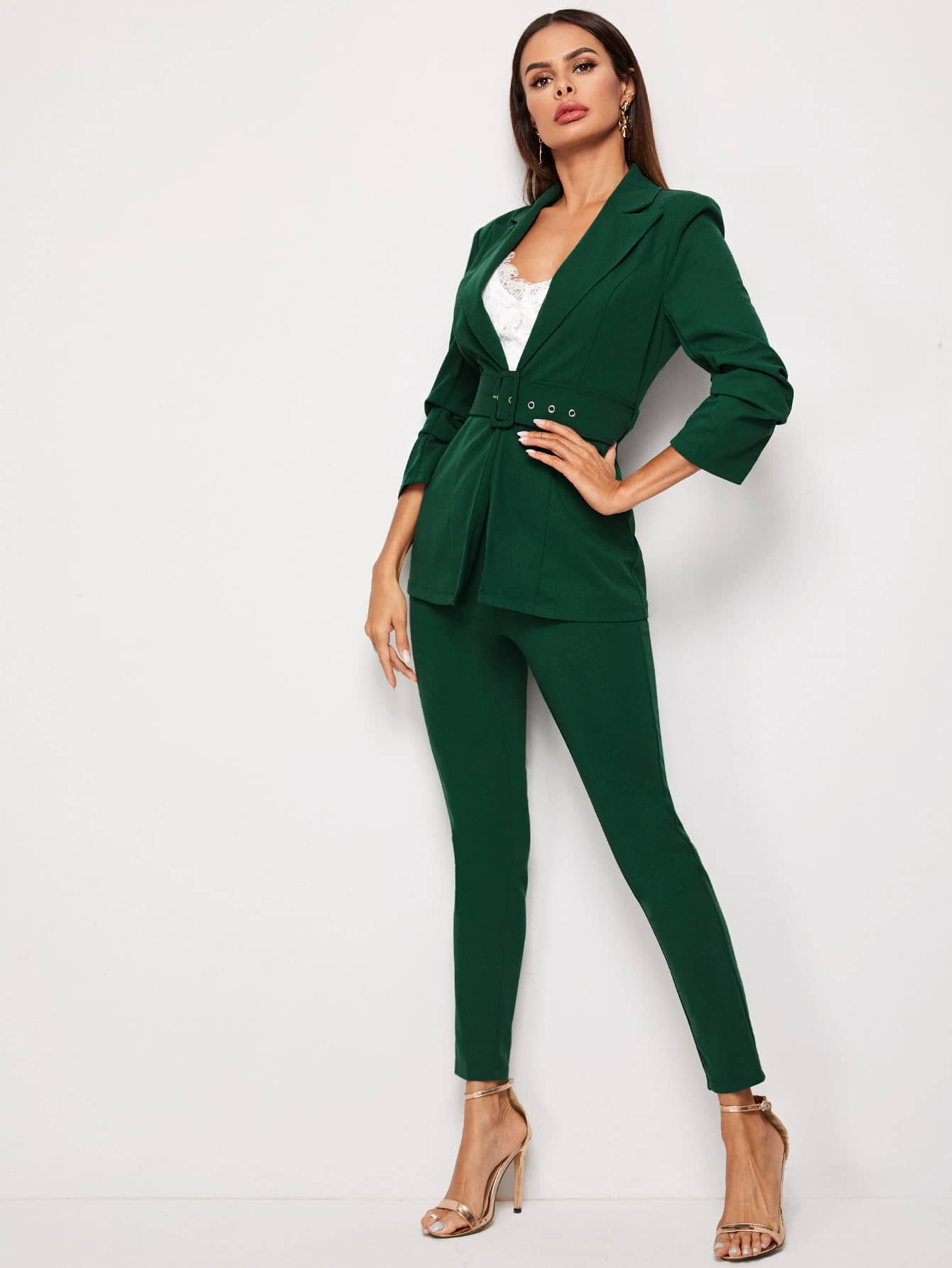 Adjustable Belted Blazer & Pants Set - FLJ CORPORATIONS