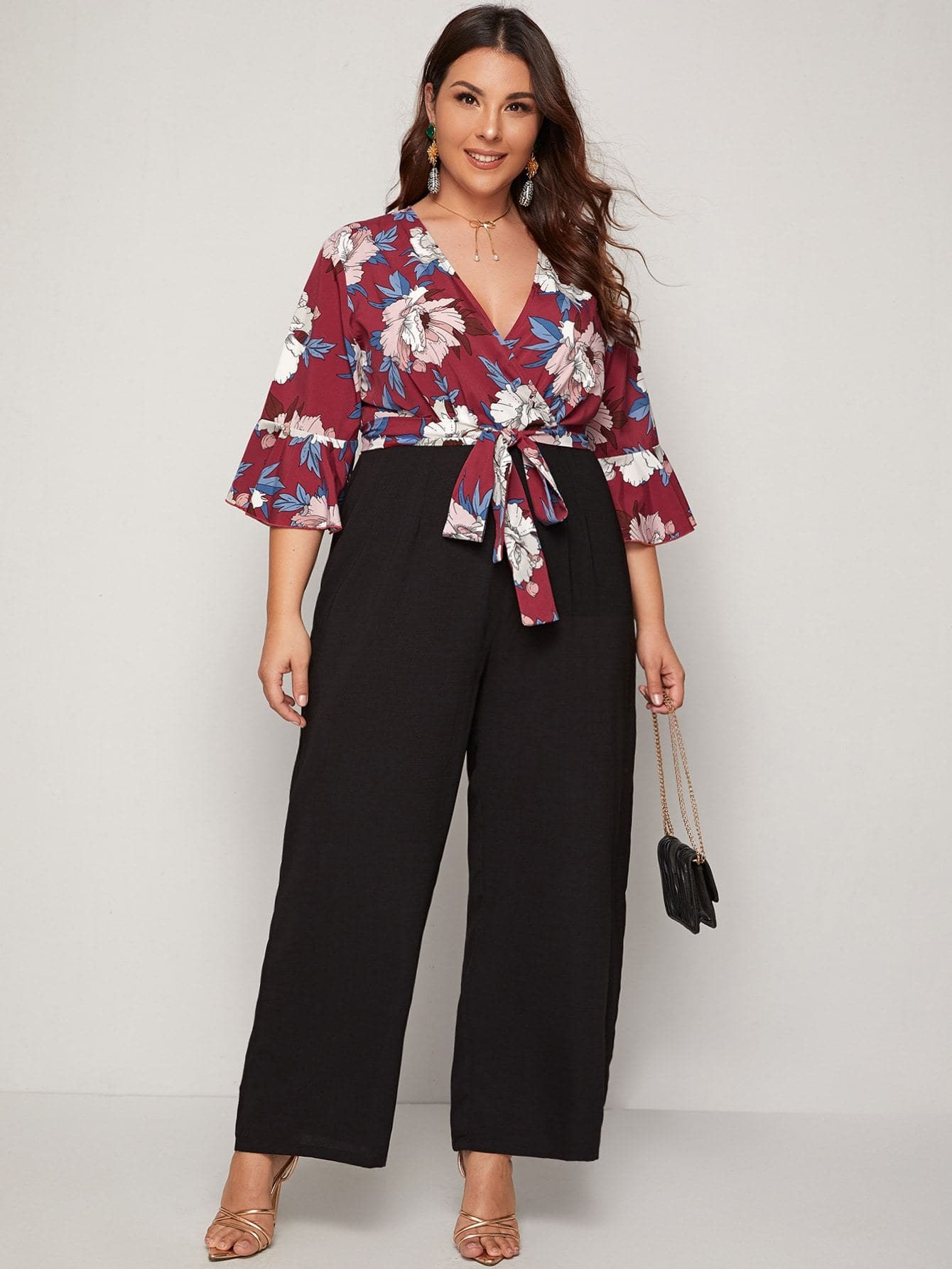 Plus Surplice Neck Floral Print Wide Leg Combo Jumpsuit - FLJ CORPORATIONS